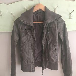Vegan leather bomber style jacket